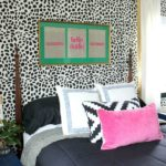 Leopard Skin Accent Wall via RainonaTinRoof.com #leopard #animalprint #accentwall #stencil #cuttingedgestencil