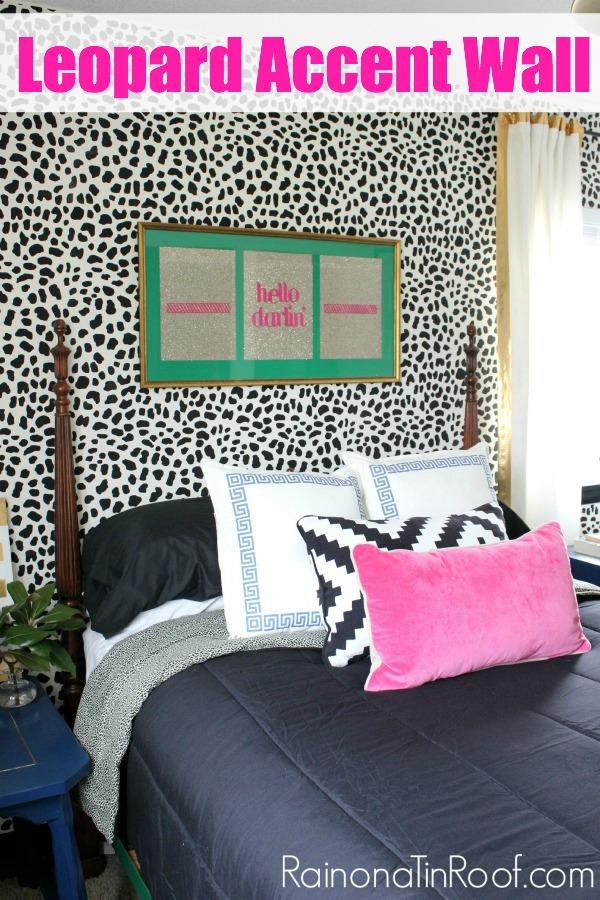 Leopard Skin Accent Wall via RainonaTinRoof.com #leopard #animalprint #accentwall #stencil #cuttingedgestencil