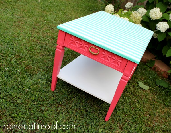 pink-and-green-striped-table-makeover-e1375752554890