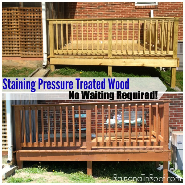 Staining pressure treated lumber