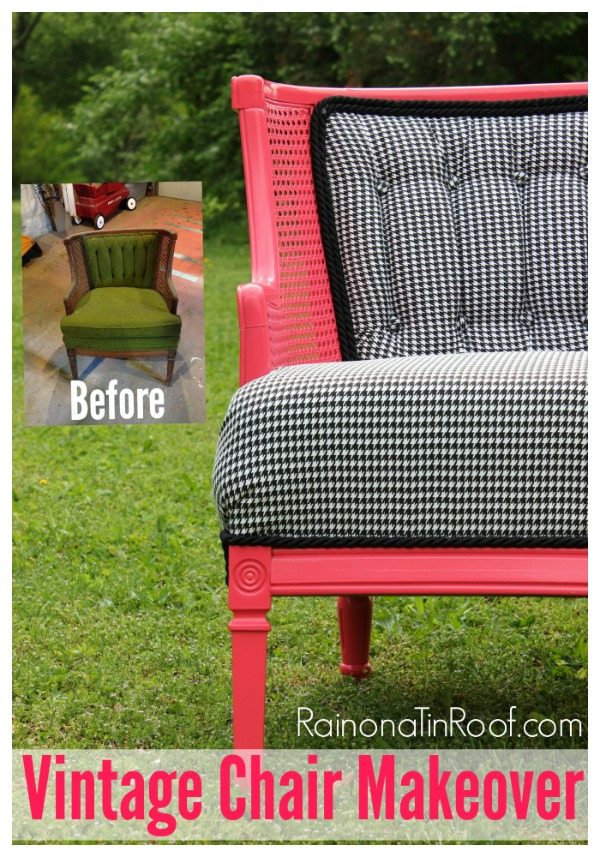 Pink & Houndstooth Vintage Chair Makeover {Roadside Rescue}