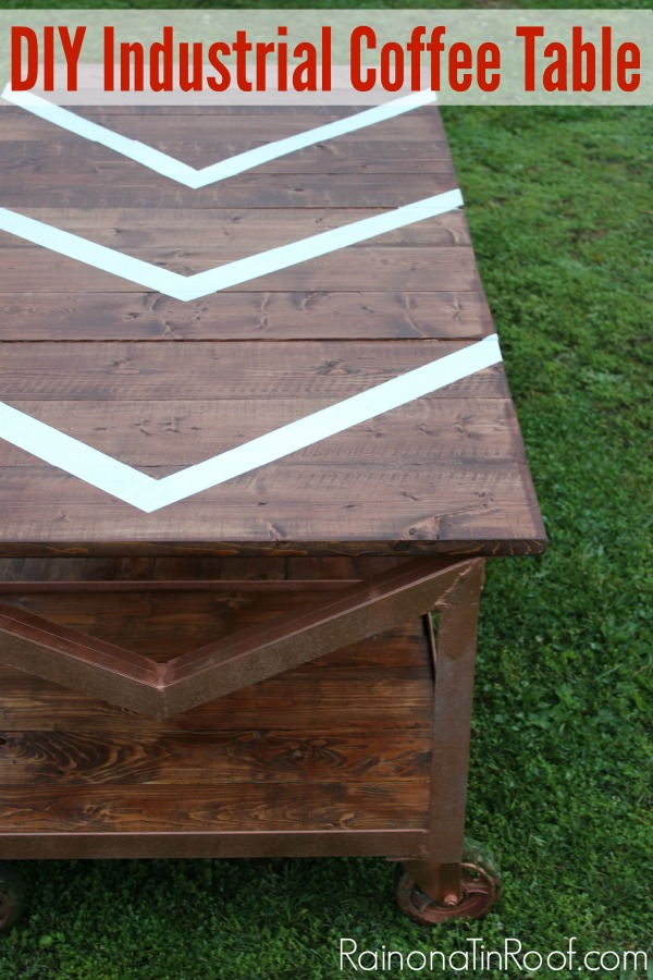 Industrial DIY Coffee Table via RainonaTinRoof.com #diycoffeetable #diy #industrial