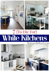 7 {To Die For} White Kitchens via RainonaTinRoof.com #kitchen #whitekitchens #decorating