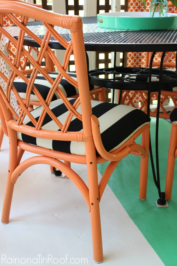 Orange, Black and White Chair Makeovers via RainonaTinRoof.com #chair #makeover #homeright #painting #color