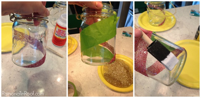 How to Glitter Mason Jars via RainonaTinRoof.com #glitter #crafts #masonjar #modpodge