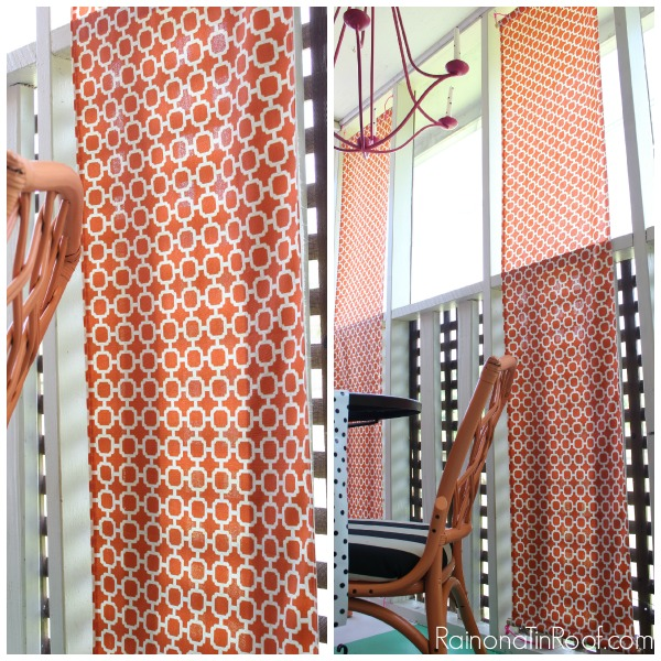 DIY Floating Curtain Panels via RainonaTinRoof.com #curtains #drapery #diy #fabric #ad #onlinefabricstore #porch
