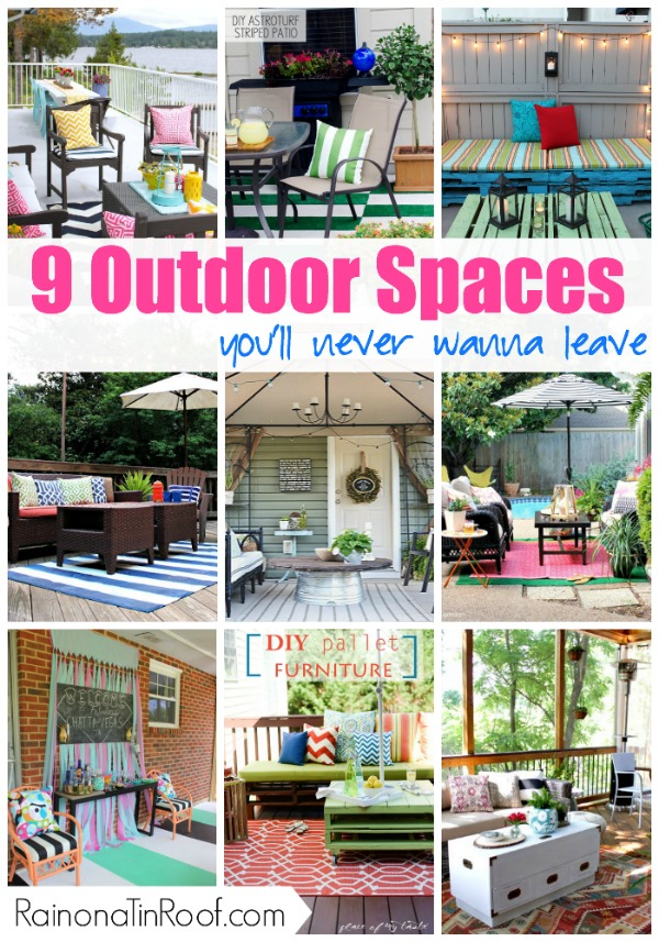 9 Outdoor Living Spaces You'll Never Wanna Leave via RainonaTinRoof.com #outdoor #summer #diy #decorating