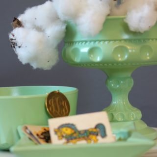 DIY Faux Jadeite from thrift store finds in 30 minutes via RainonaTinRoof.com #jadeite #faux #diy #crafts