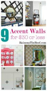 9 Accent Walls for $30 or Less via RainonaTinRoof.com #homedecor