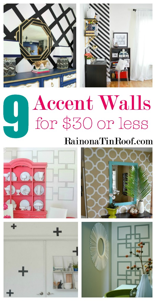 Looking for BIG bang for your buck? Here are 9 Accent Walls for $30 or Less - includes lots of wall painting ideas, techniques and designs - and they are all DIY projects! Great painting ideas!