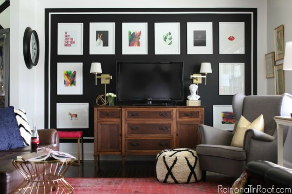 Looking for BIG bang for your buck? Here are 9 Accent Walls for $30 or Less - includes lots of wall painting ideas, techniques and designs - and they are all DIY projects! Great painting ideas including this black and white gallery wall!
