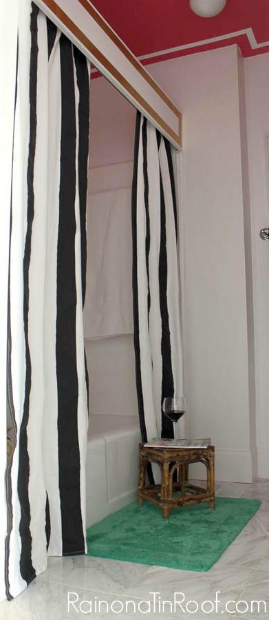 DIY Shower Cornice with Black & White Shower Curtains via RainonaTinRoof.com #diy
