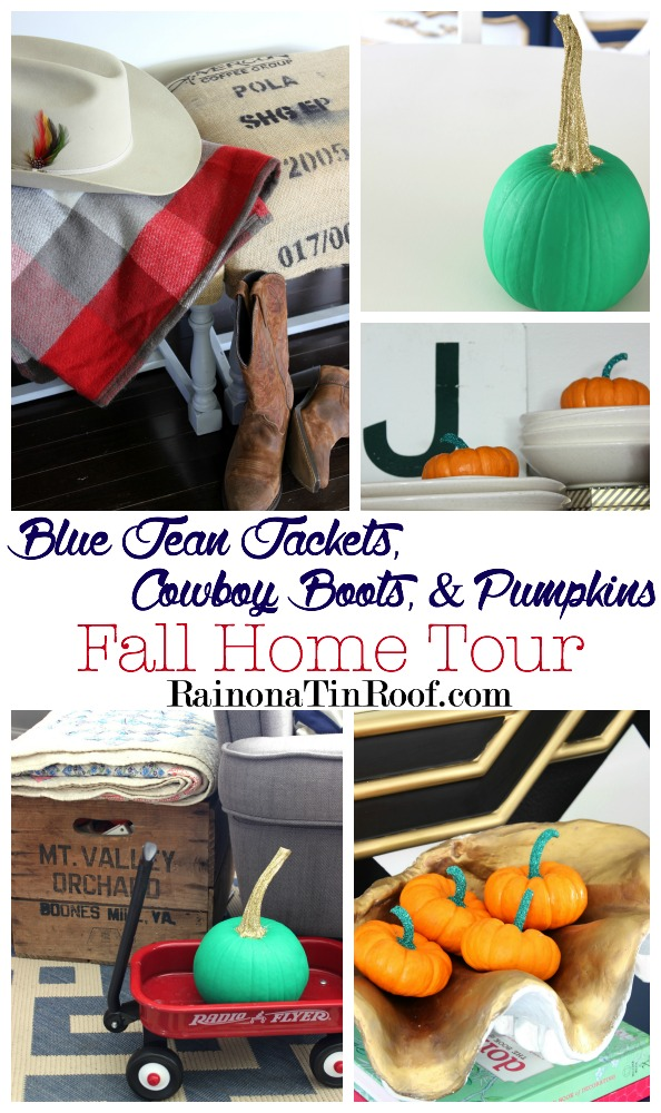Blue Jean Jackets, Cowboy Boots, and a few Pumpkins: Fall Home Tour {Blogger Stylin' Home Tours}