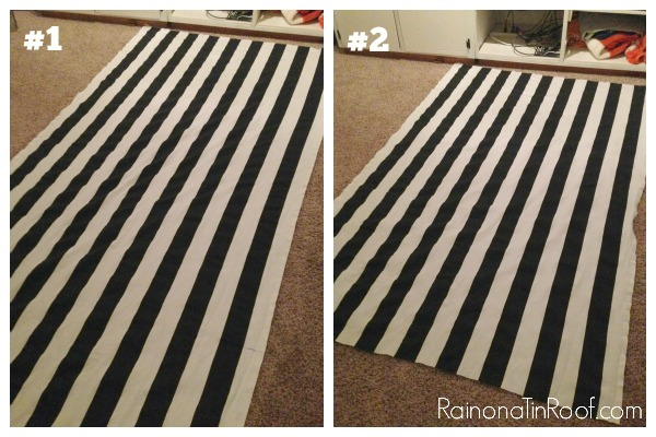 DIY Shower Cornice with Black & White Shower Curtains via RainonaTinRoof.com #diy