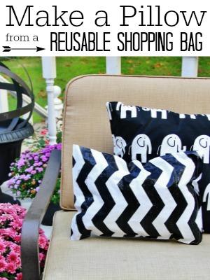 Make a Pillow from a Reusable Shopping Bag