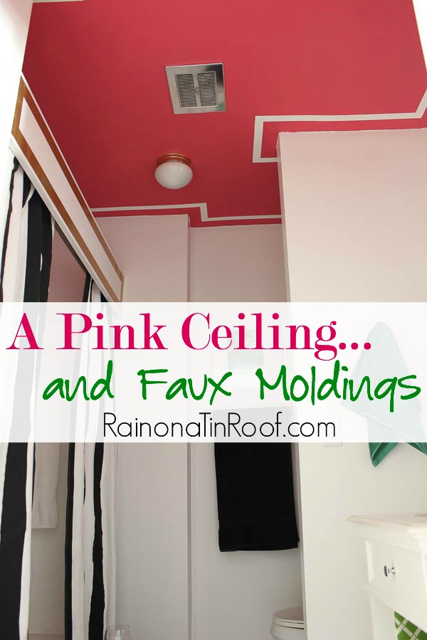 A Pink Ceiling With Faux White Moldings
