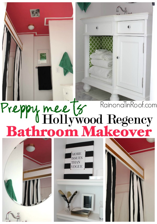 Preppy meets Hollywood Regency Bathroom Makeover