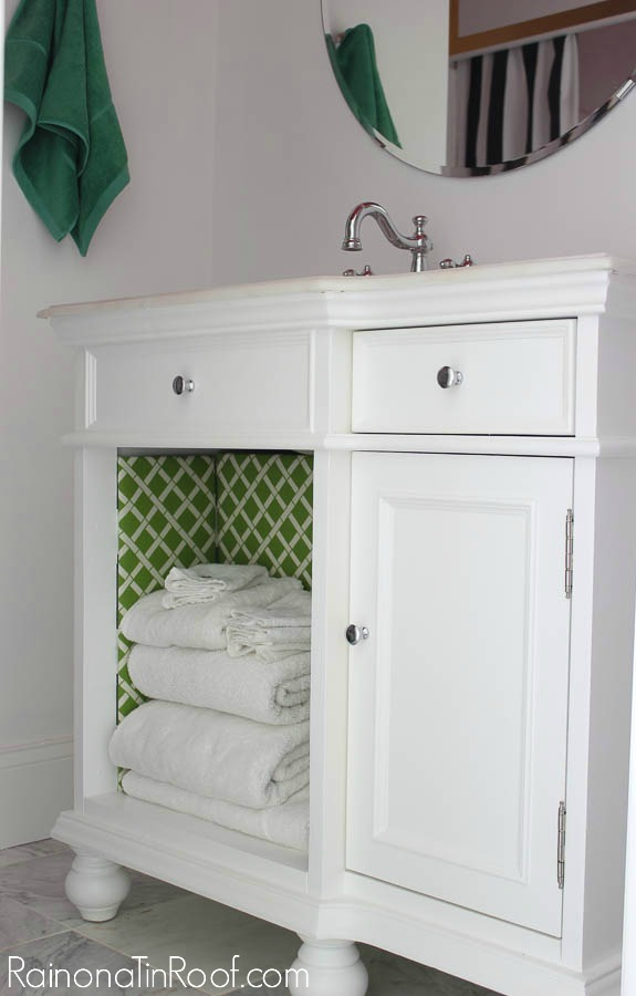 Preppy meets Hollywood Regency Bathroom Makeover via RainonaTinRoof.com #bathroom