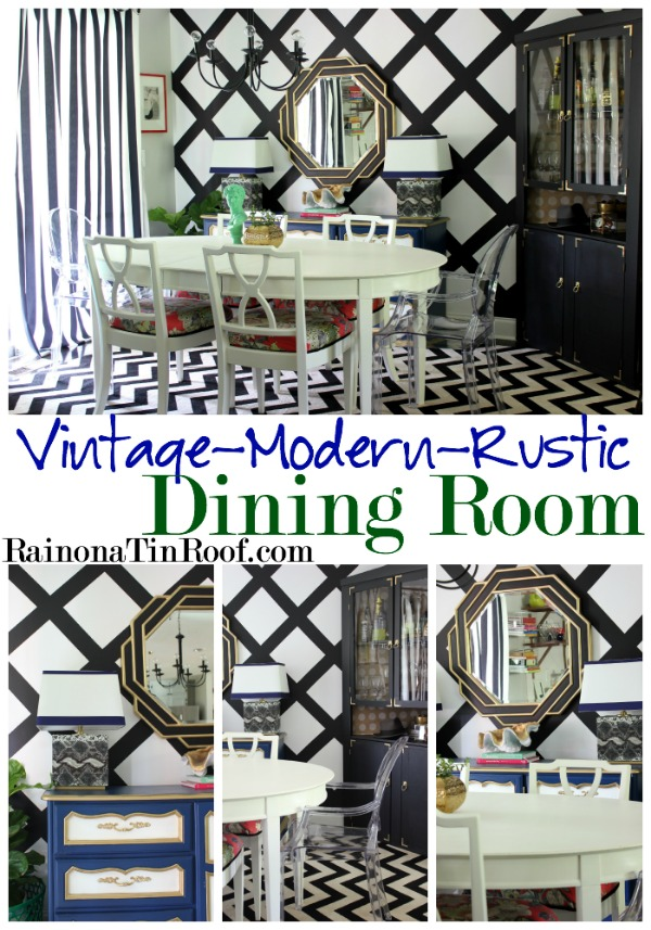 Vintage Modern Rustic Dining Room Tour via RainonaTinRoof.com #homedecor