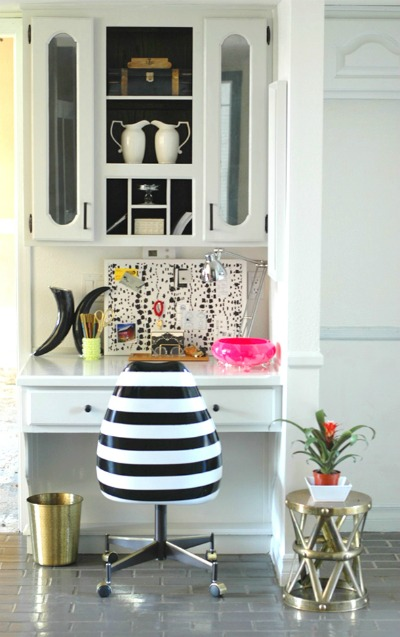 14 Black and White DIY Projects - Painted Black and White Striped Desk Chair