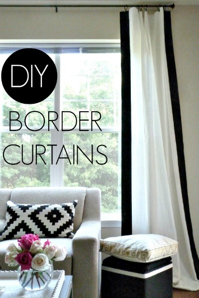 14 Black and White DIY Projects - Painted Black and White Curtains