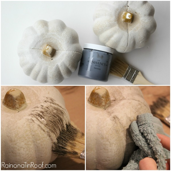 CHEAP idea for place card holders for Thanksgiving! They can double as a gift or pull off the name tags and re-use them next year! Pumpkin Place Card Holders (With Dollar Tree Pumpkins!) via RainonaTinRoof.com