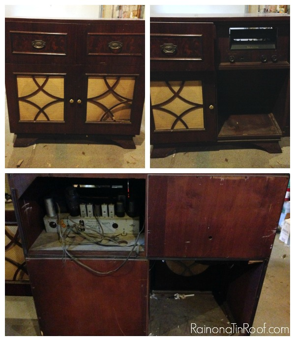 Vintage Radio turned Bar Cabinet via RainonaTinRoof.com - Vintage Radio Turned Bar Cabinet
