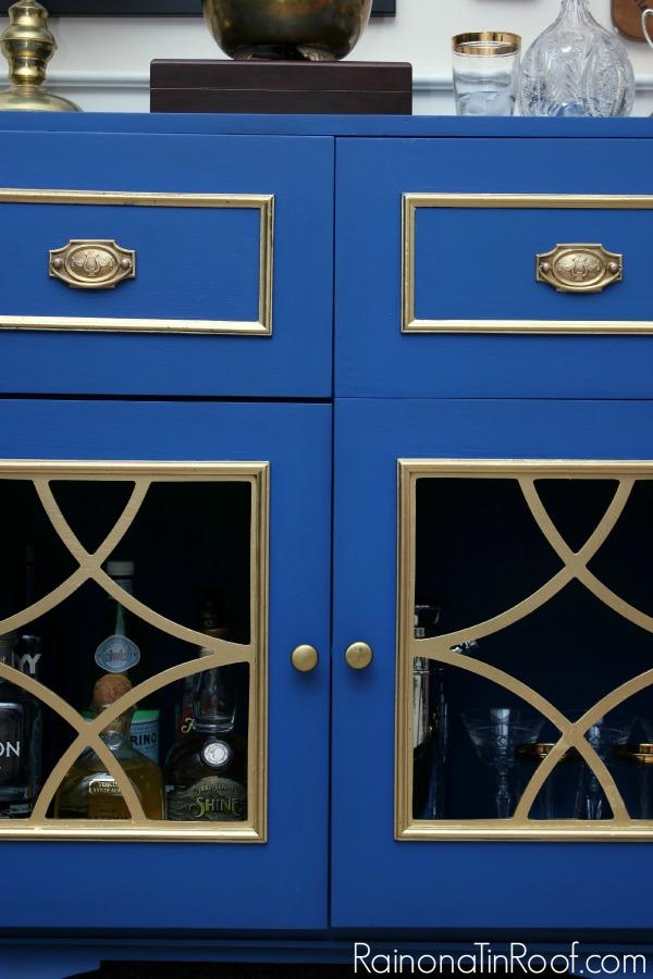 THAT COLOR! Gorgeous! Vintage Radio turned Bar Cabinet via RainonaTinRoof.com