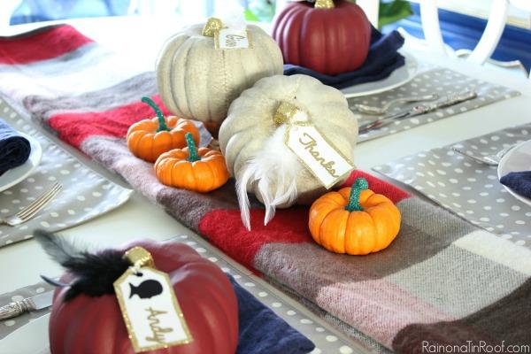 Simple Thanksgiving Tablescape via RainonaTinRoof.com