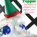 Would cost $1 or less to make!! Adorable! Elf Hat Tree Topper (The easiest and cheapest tree topper you'll ever make) via RainonaTinRoof.com