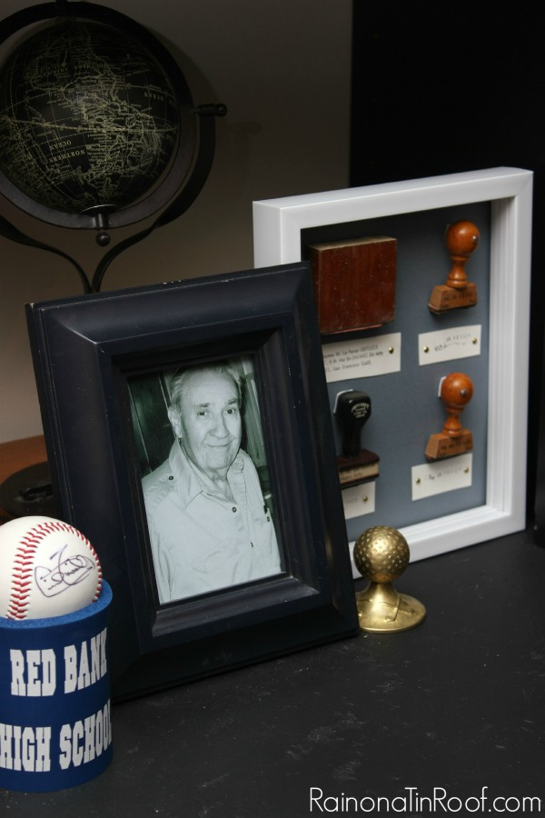 Vignette for Grandpa - put old stamps in a shadow box.
