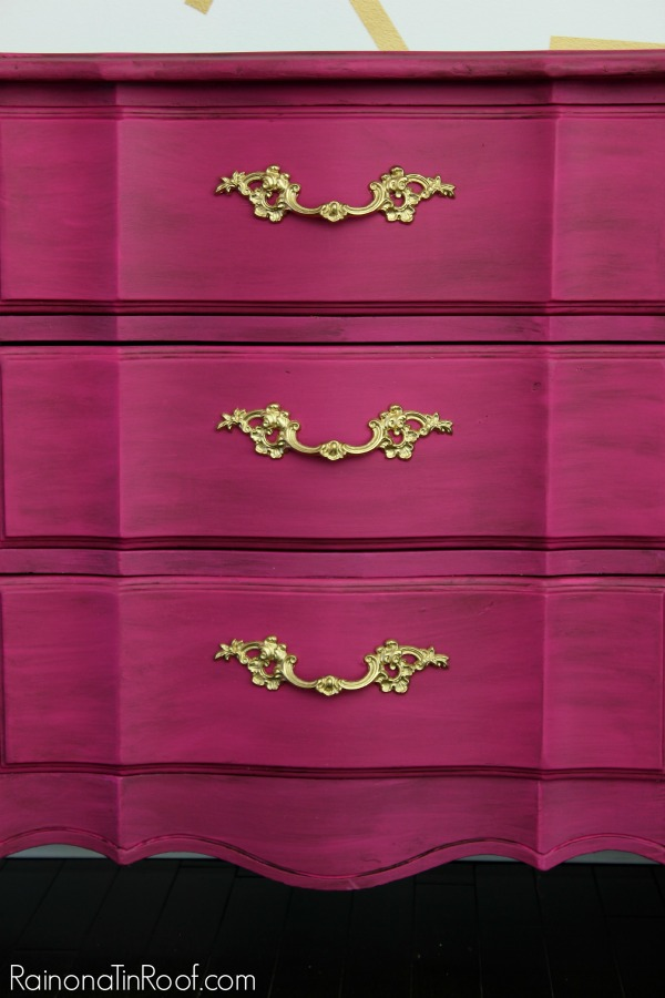 Gorgeous rich color! And no priming required with this paint! Glamorous Dresser Makeover