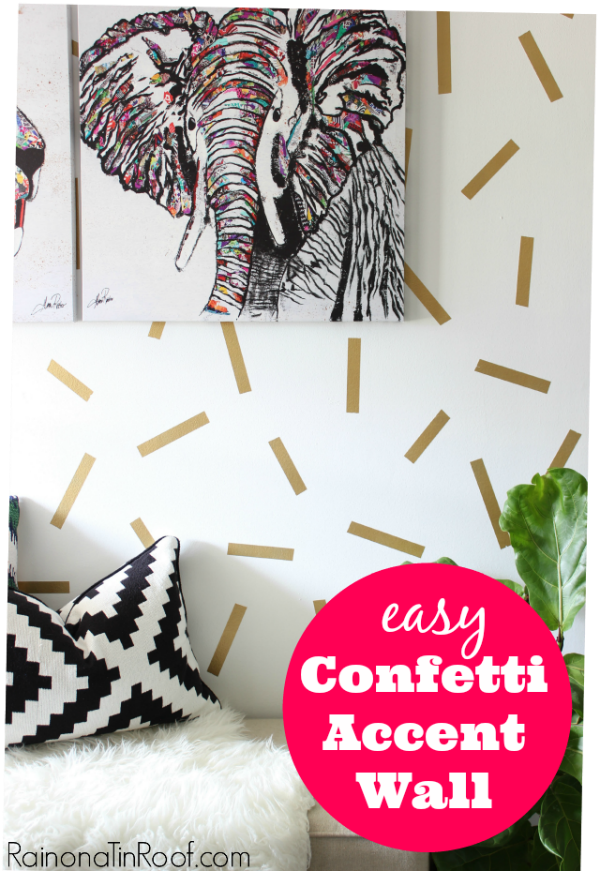 Looking for BIG bang for your buck? Here are 9 Accent Walls for $30 or Less - includes lots of wall painting ideas, techniques and designs - and they are all DIY projects! Great painting ideas including this gold confetti wall!
