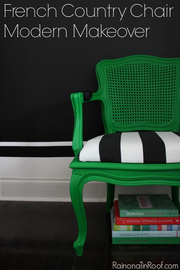 OMG. I'm in love. Green+ Black + White = Perfection. Painted with Velvet Finishes Enchanting. French Country Chair Modern Makeover