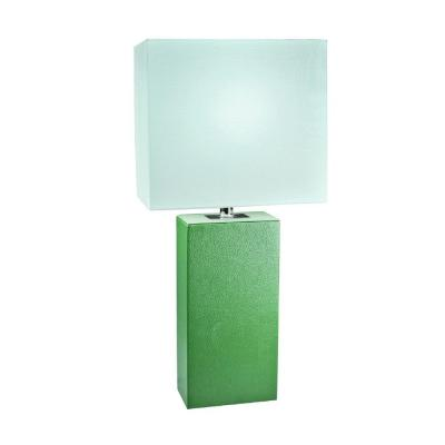 Best Lamps Under $50: Green Leather