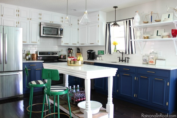 Navy and White Kitchen with a DIY Island: Spring Home Tour