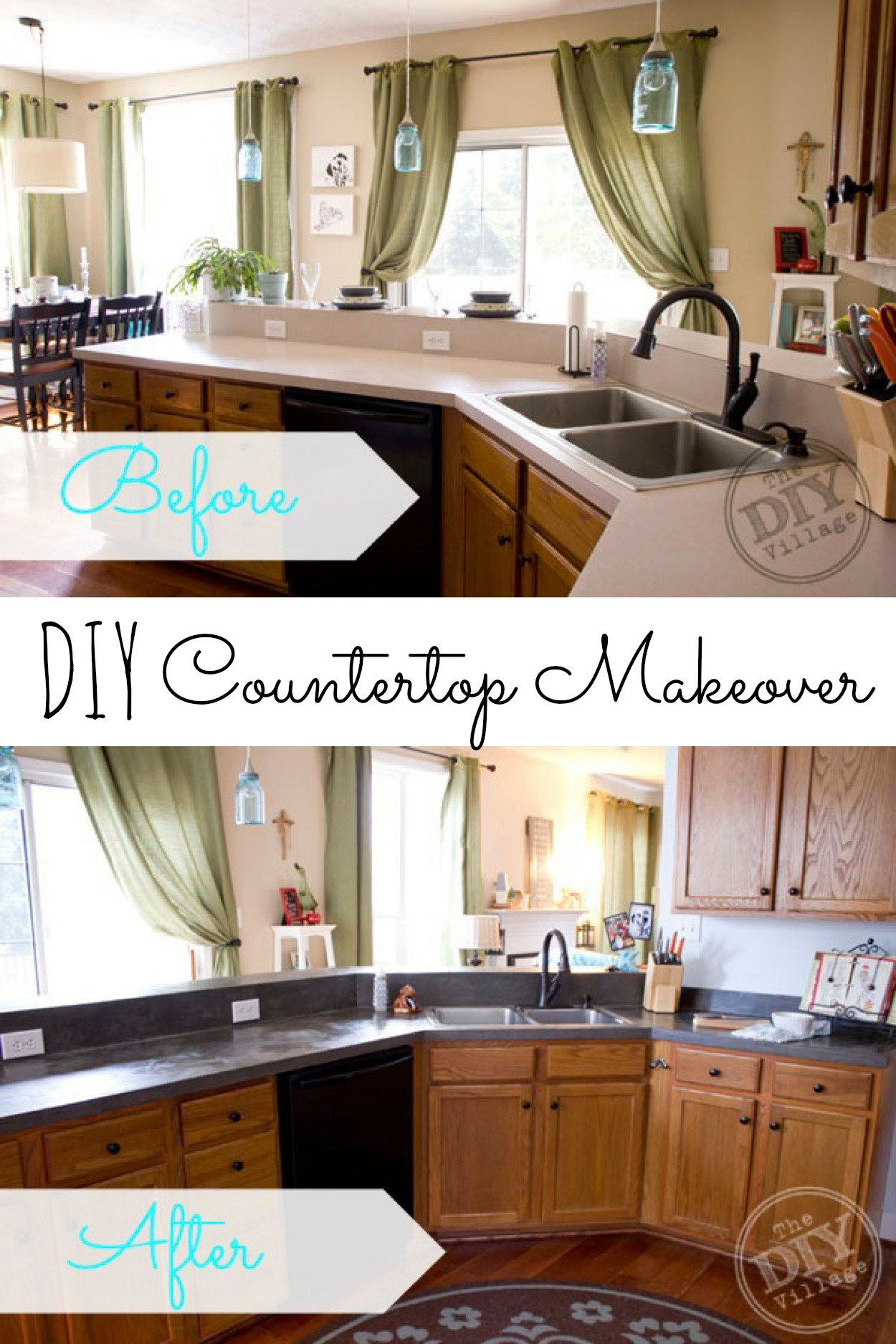 DIY Concrete Countertop Yes, please! Great DIY countertop makeovers that are doable and affordable!