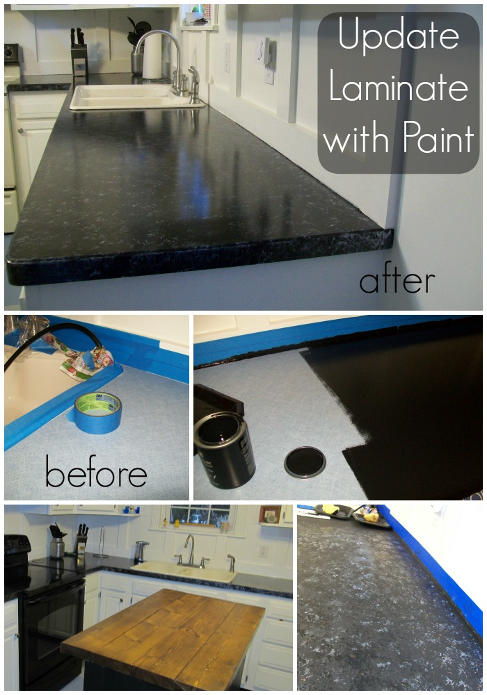 Black Painted Countertop Makeover. Yes, please! Great DIY countertop makeovers that are doable and affordable!