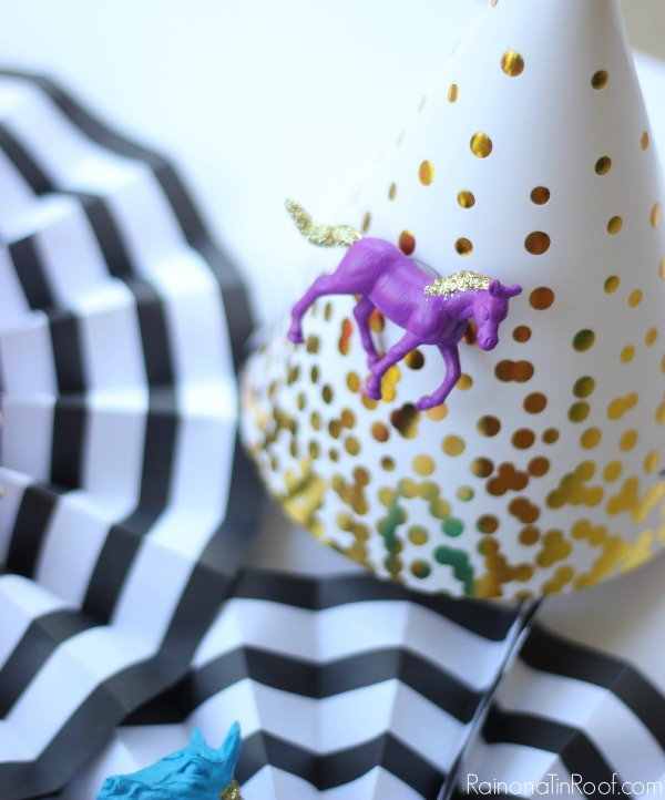 So cute! Buy the birthday party hats at the store, but then customize it with your theme! DIY Birthday Party Decorations