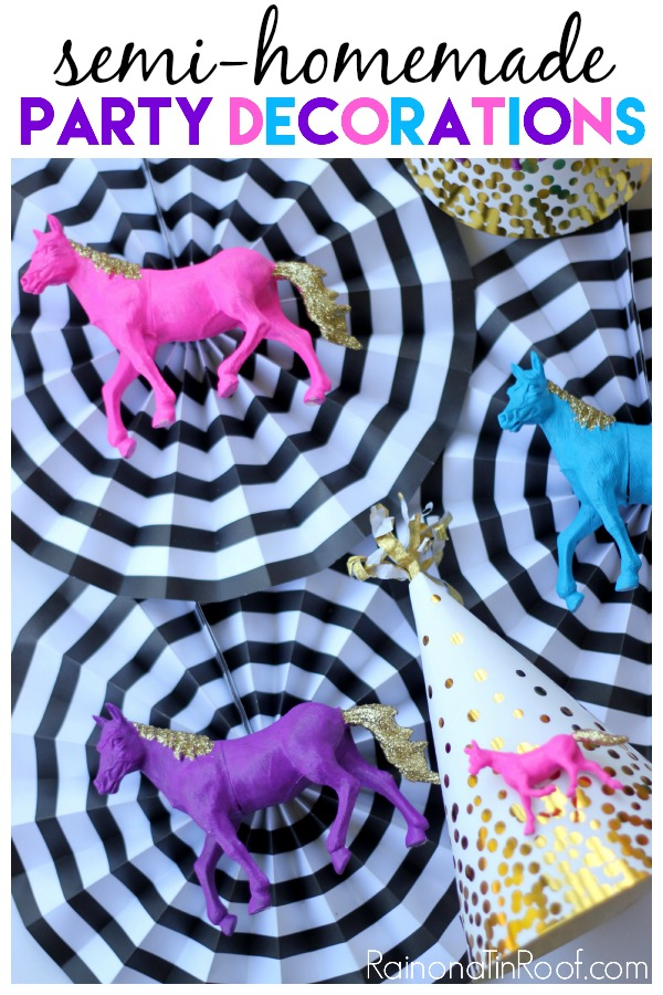"""Oh. My. Goodness. Stop it! These horse birthday party decorations are just too much! Love this idea for """"semi-homemade"""" DIY Party Decorations!"""