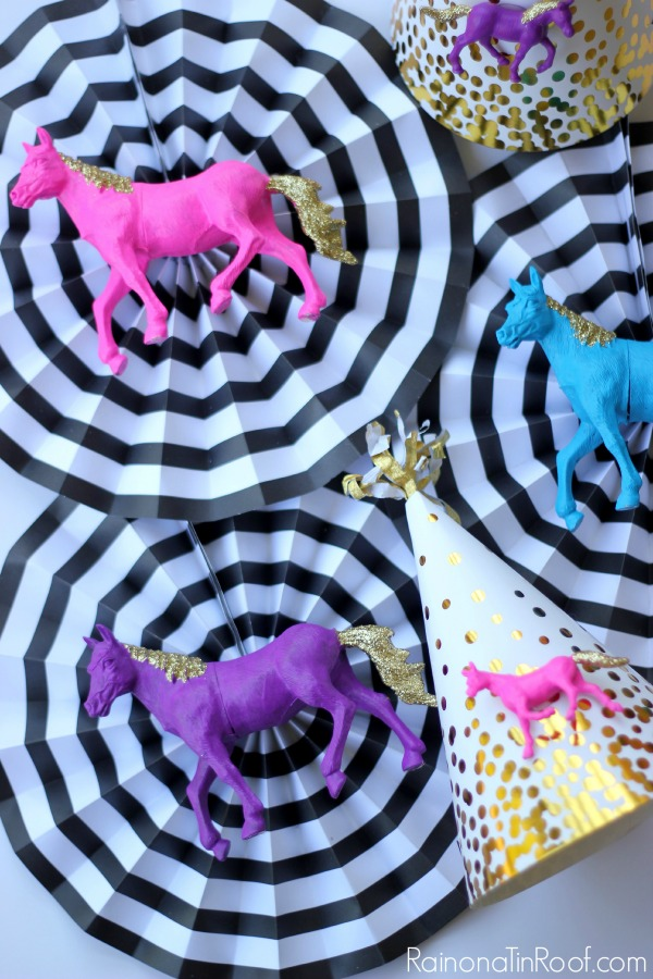 Such a great idea! Save yourself time by getting store bought party decorations, but then customizing them with items that fit your party theme! Birthday Party Decorations