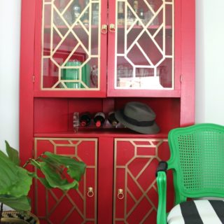 Liquor Cabinet Makeover + Adding Fretwork to Furniture