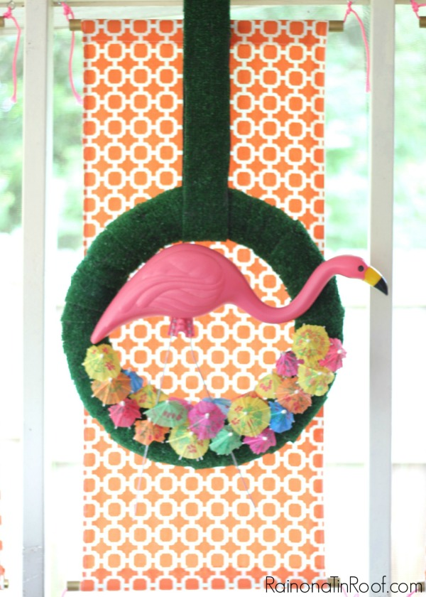 Make this adorable pink flamingo wreath for your front door or porch! So easy!