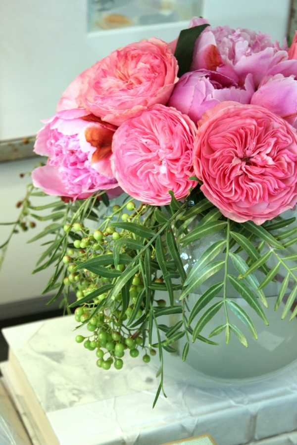 Leafy Greens and Pink Flowers