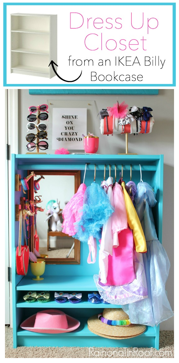Dress up closet out of a ikea bookcase