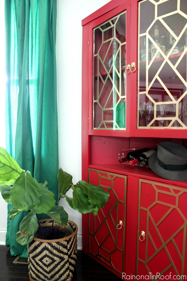 Vivid Red Hutch Makeover / How to Add Fretwork to Furniture / Velvet Finishes Paint / O'verlays / Brass Lion Pulls / Chippendale Fretwork