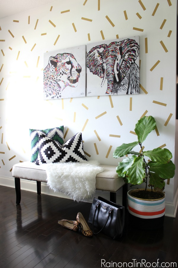 A fun and easy to do confetti wall treatment. Summer Home Tour: The details make the space.