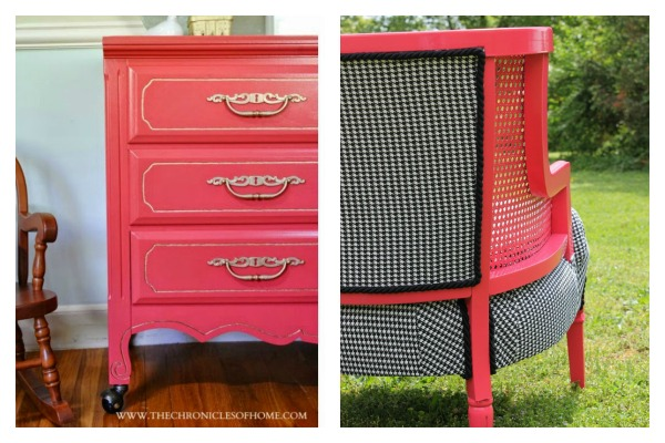 Bold and Beautiful Furniture Makeovers: Bold Pink Furniture Makeovers / Dresser Makeover / Chair Makeover / Houndstooth Upholstery / Coral Dresser Makeover