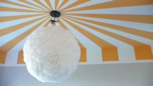 Yellow and White Striped Painted Ceiling Design • Circus Tent Ceiling Design • Painted Ceiling Designs • Tips for Painting Ceilings