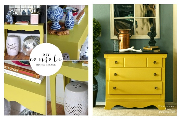 Lovely Bold And Beautiful Furniture Makeovers: Yellow Furniture Makeovers / DIY  Console Table / Mustard Furniture